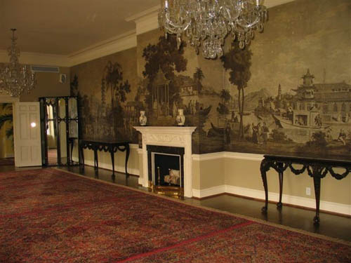 An image of the full Zuber wallpaper at USC. image via Tyler Construction