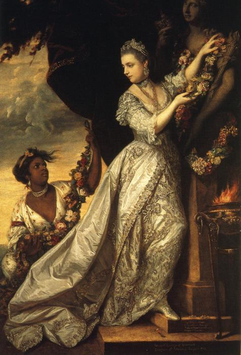 "Sir Joshua Reynolds, ""Lady Elizabeth Keppel,"" 1761, oil on canvas, Trustees of the Bedford Estates at Woburn Abbey  This painting, which appears in ""Belle"", depicts the subordinate position in which most women of color were shown in instances where they appeared in 18th century British artwork"