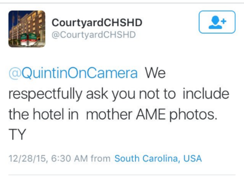 "The Courtyard Marriott's tweet has since been deleted and an ""apology"" issued."