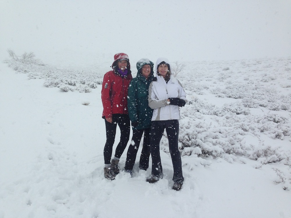 Strider, Martha, Patty hiking in snowstorm in February 2014 near Onion Valley Road