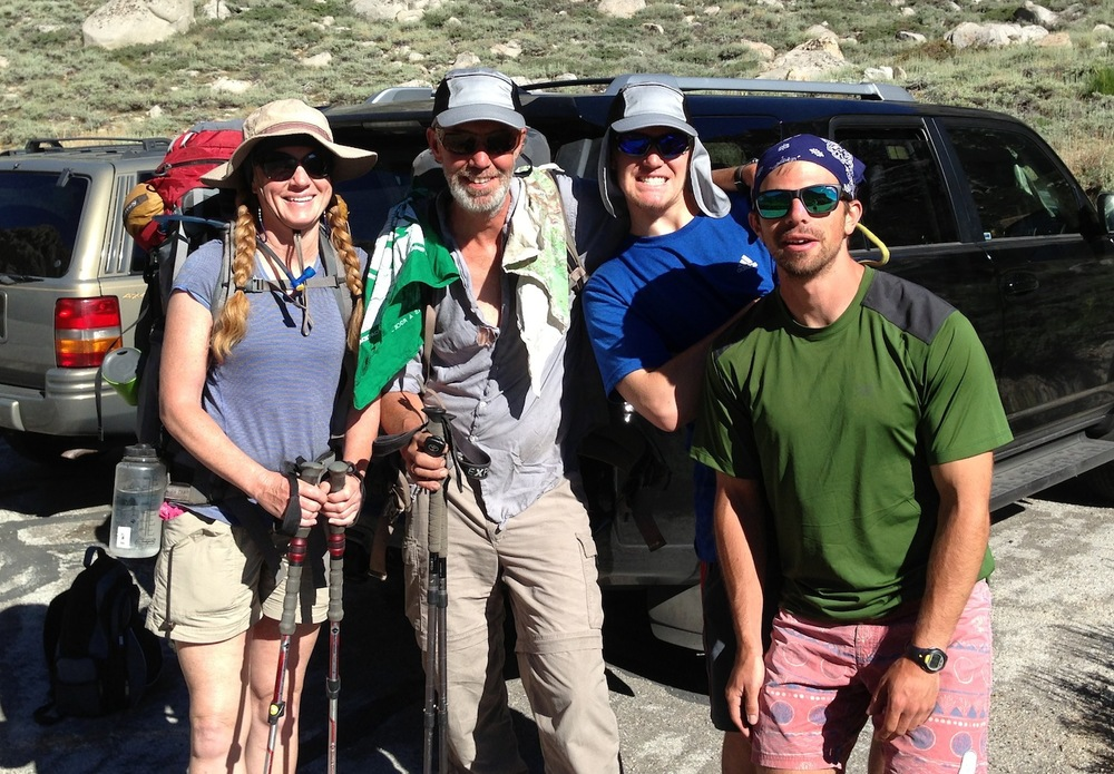 JMT: Jen, Dave, Zach and Andrew at Onion Valley before heading over Kearsarge to Whitney