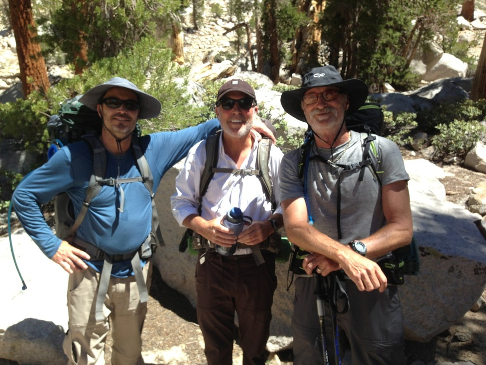 JMT: Northbound hikers Mike, Glenn and Mark near Gilbert Lake on way over Kearsarge Pass on July 3