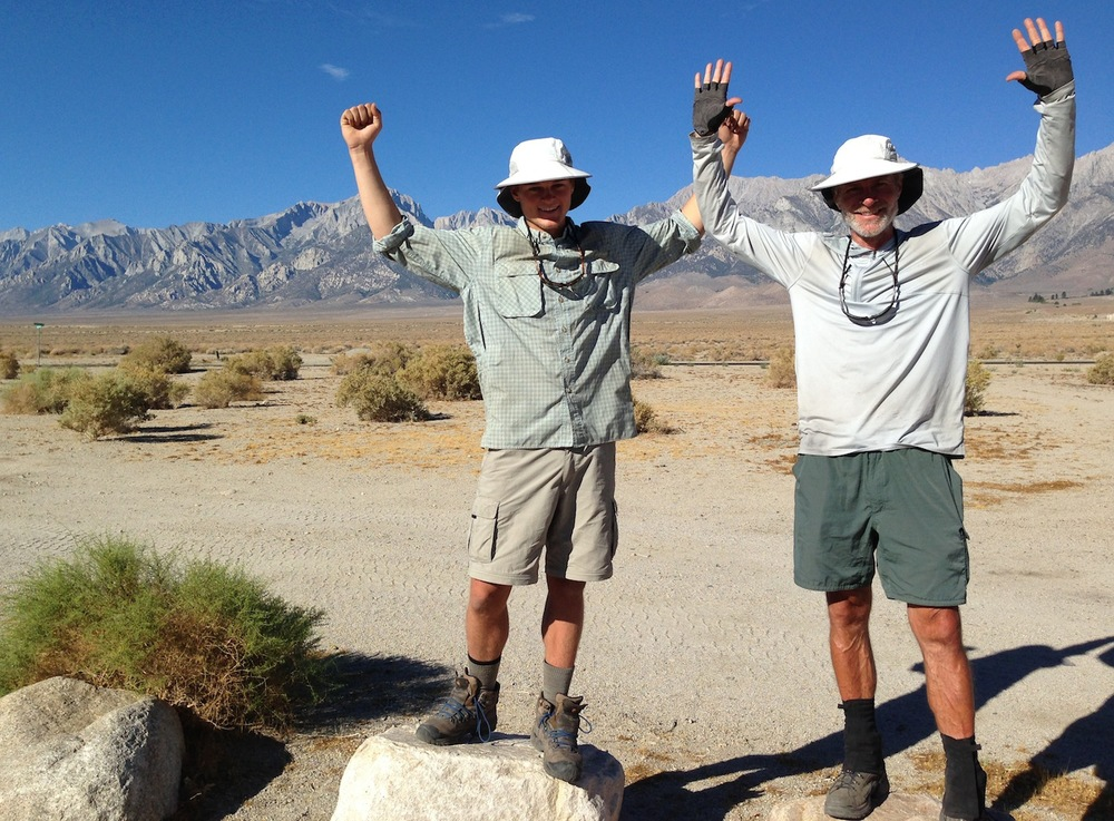 Dad Hunter and son Isaac at the Base Camp before hitting the trail to finish the JMT and summit Mt. Whitney