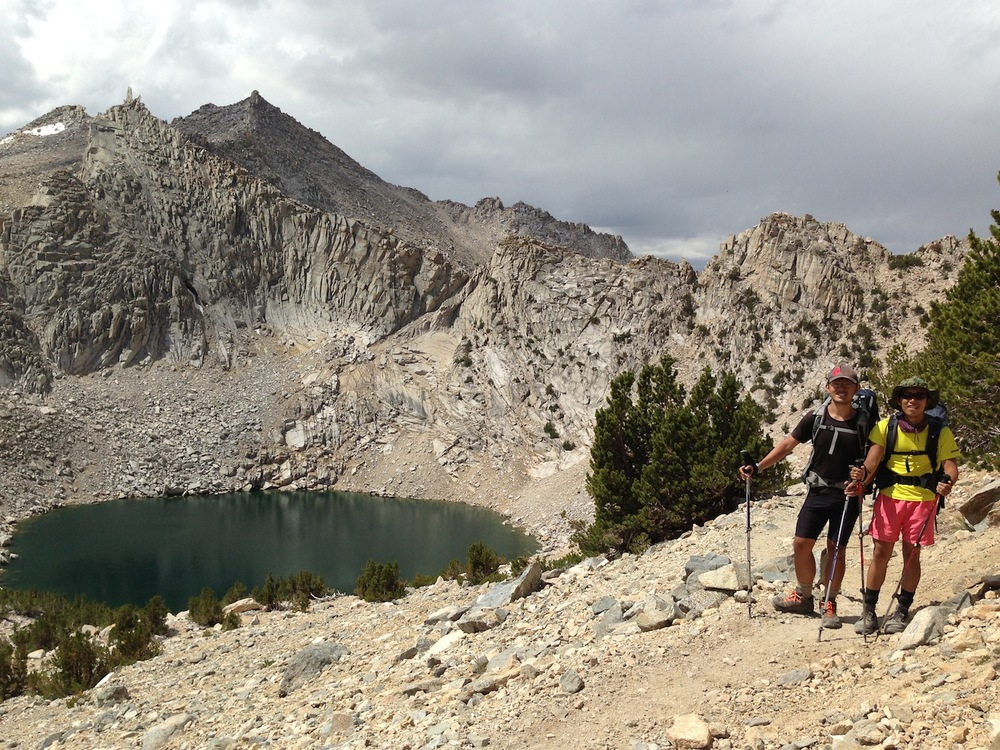 Singapore hikers Eugene and KK above Upper Pothole Lake on their way back to the JMT.
