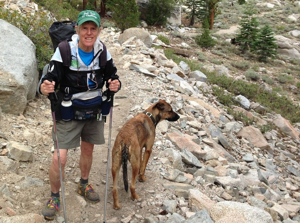 Jane, a 78-year-old hiker from Portland, Ore., with Indy. She is headed over Kearsarge Pass to Mt. Whitney. Jane's trail name is TOB -- Tough Old Broad!