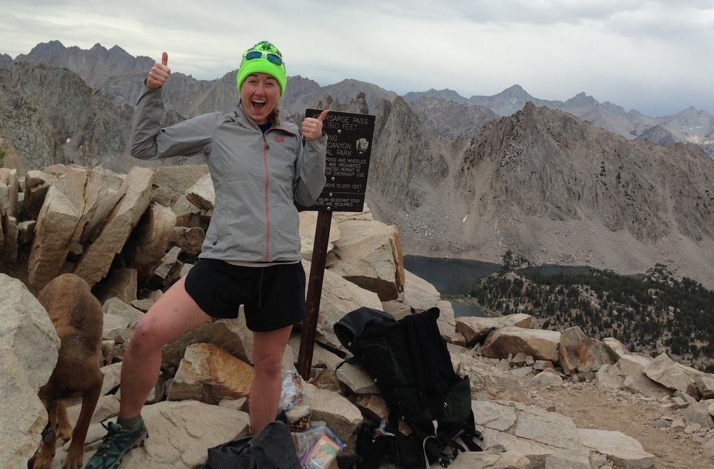 JMT hiker Pam celebrates Kearsarge Pass.