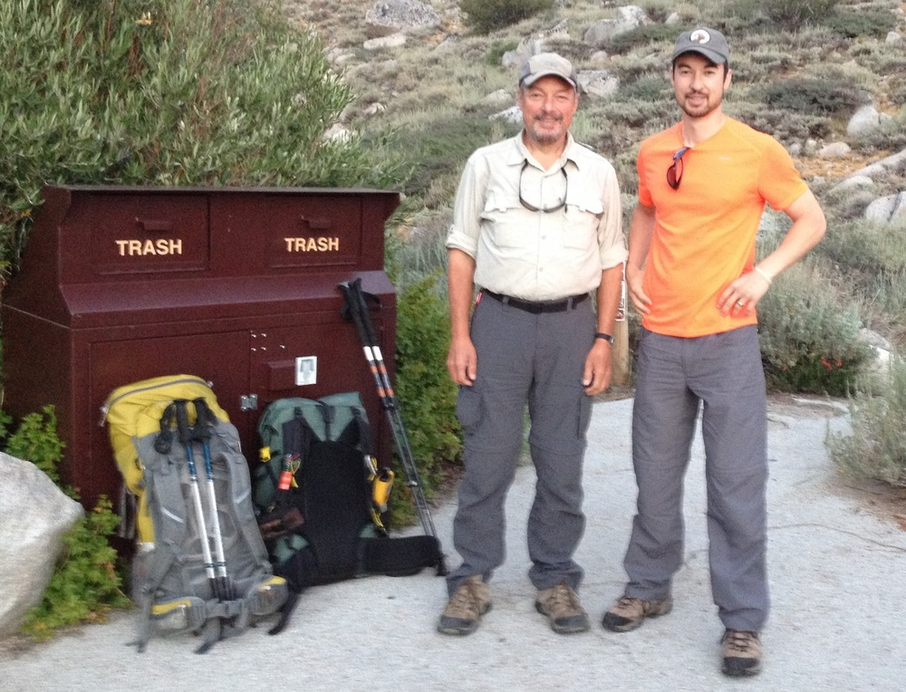 JMT hiker Richard Holtzman and his son Kevin, who joined him on the trail at Onion Valley to finish on Mt. Whitney.
