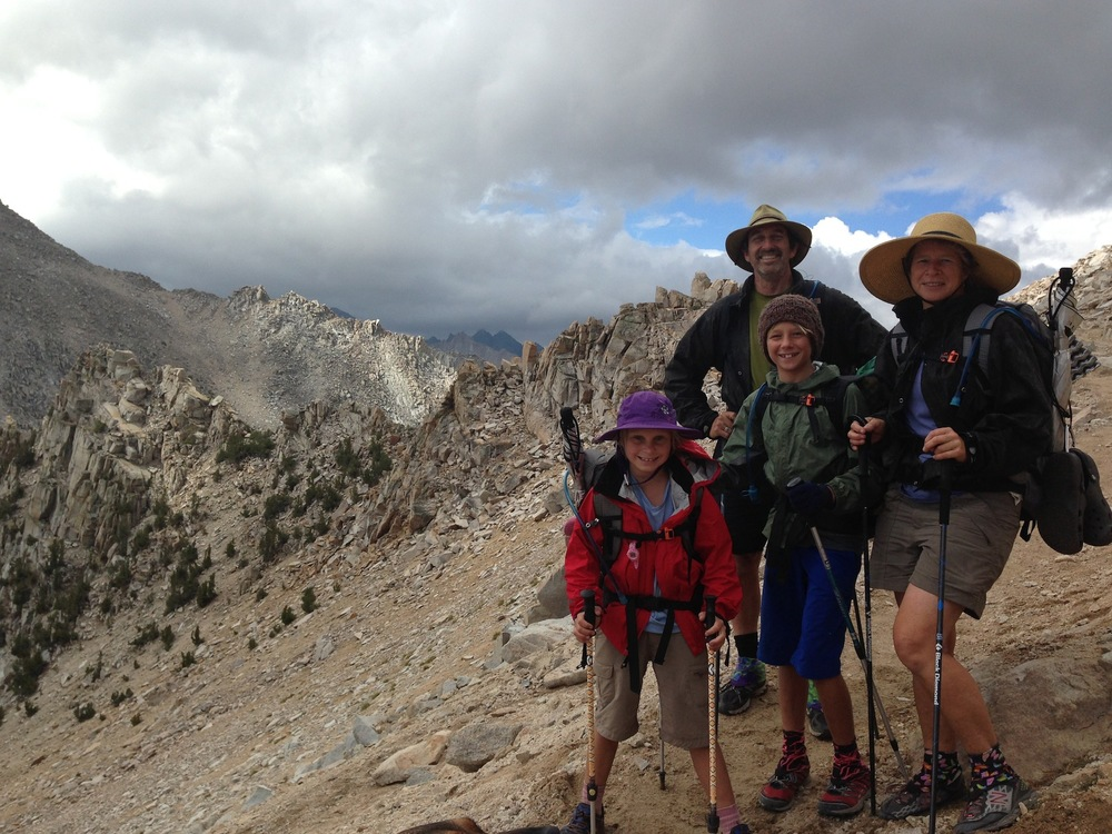 The Umstead family near the top of Kearsarge Pass on their way down to the Base Camp to resupply and recharge. This is their second JMT -- NOBO this time!