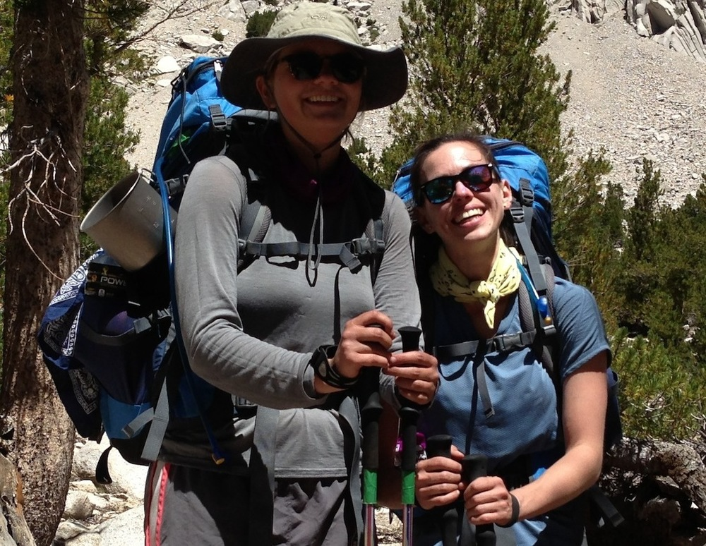 JMT hikers Erin and Sara on their way back up to Kearsarge Pass after a resupply stay at the Base Camp.