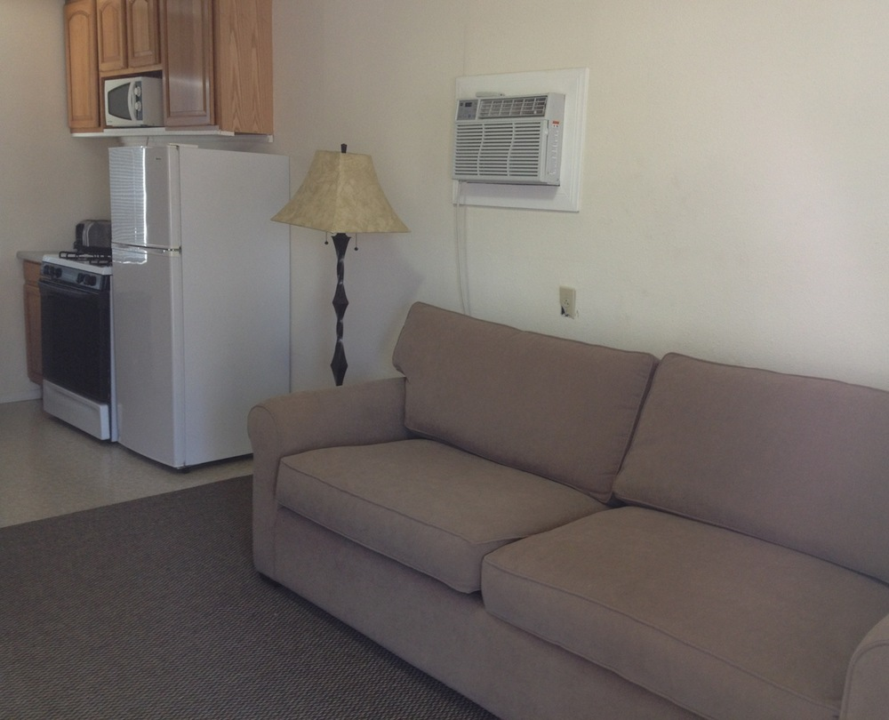 The Paiute Suite has a living room and fully equipped kitchen