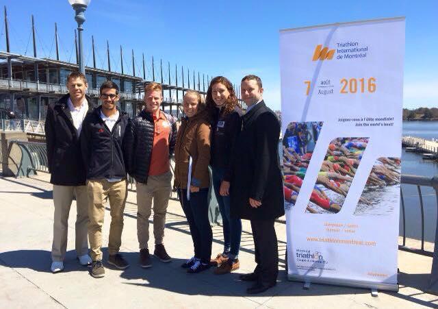 Conférence de presse ITU Triathlon de Montréal avec le Président de Triathlon Québec; Benoit Hugo, Xavier Grenier Talavera, Jeremy Obrand, Emy Legault et le Président ITU Mtl; Patrice Brunet.