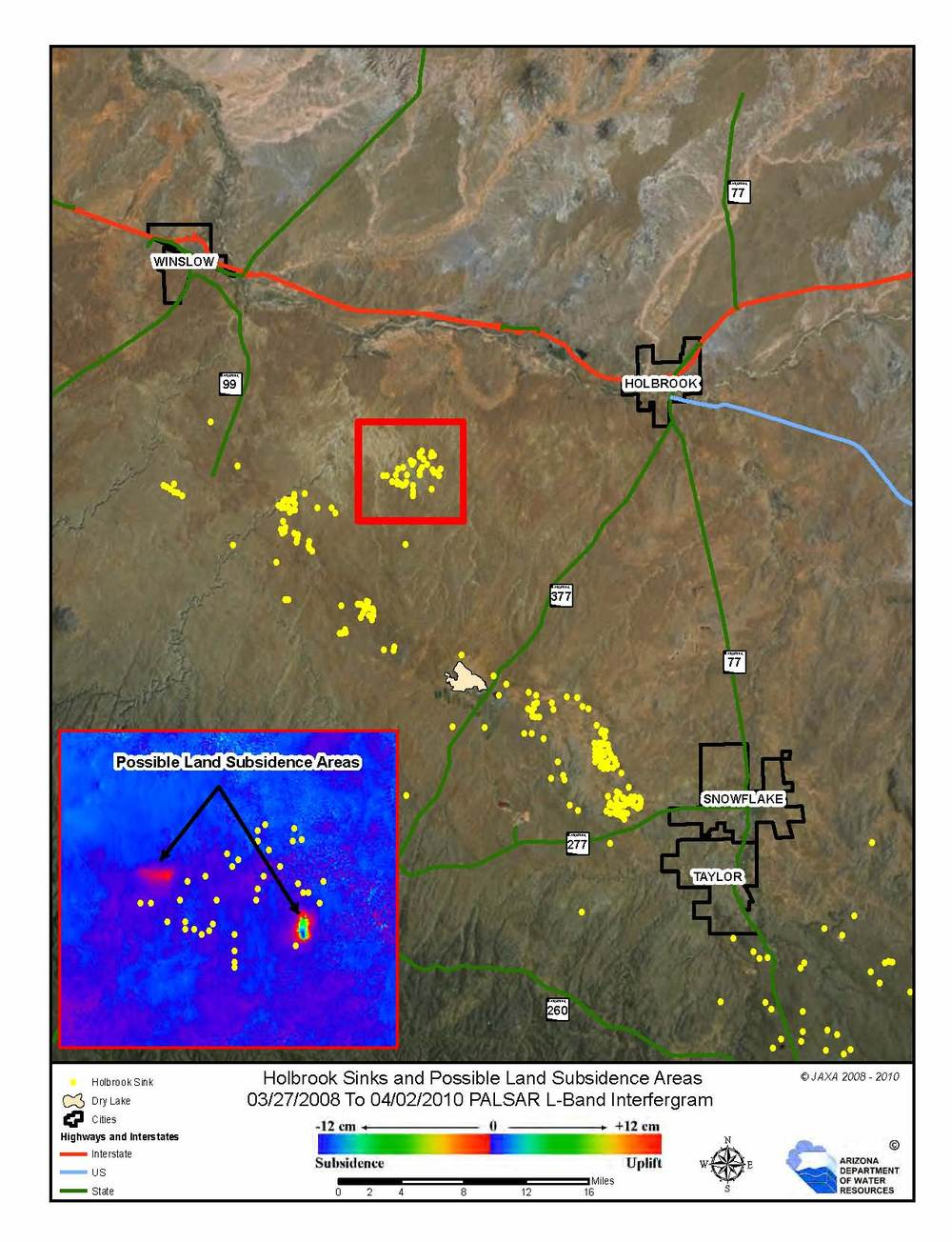 Karst features in AZ, Sinkholes and dissolution tension cracks near Holbrook, AZ