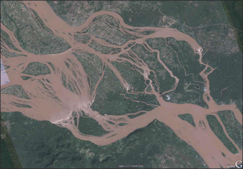 On the border of Cambodia and Laos. Check it out in Google Earth and turn on the photo layer. Sweet.