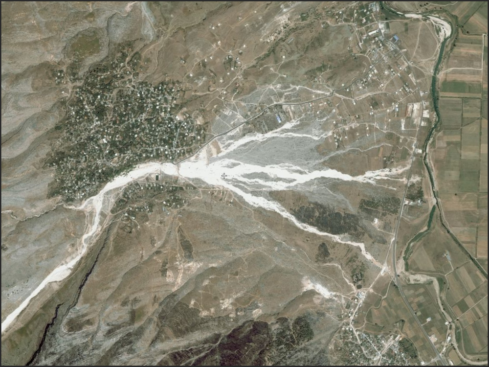 Fresh alluvial fan flood evidence in Albania. Community appears to have fared reasonably well. There is an abundance of fresh flood and mass wasting evidence in this general region. Check it out. 