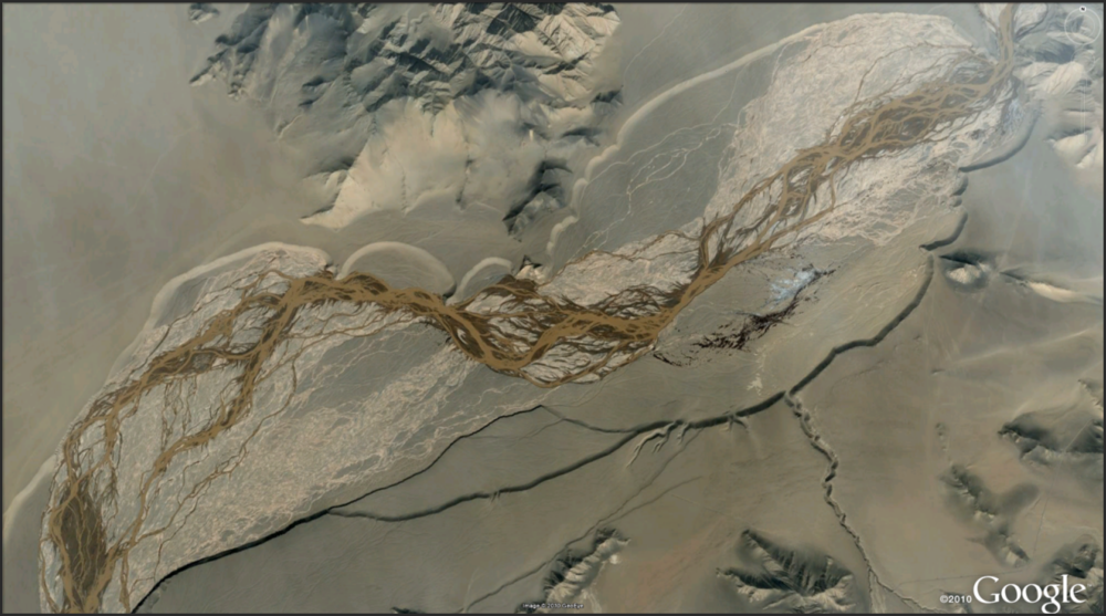 Go to the previously posted site in China and head upstream. Amazing on many fluvial and alluvial levels...(pun).       http://goo.gl/maps/vRX7