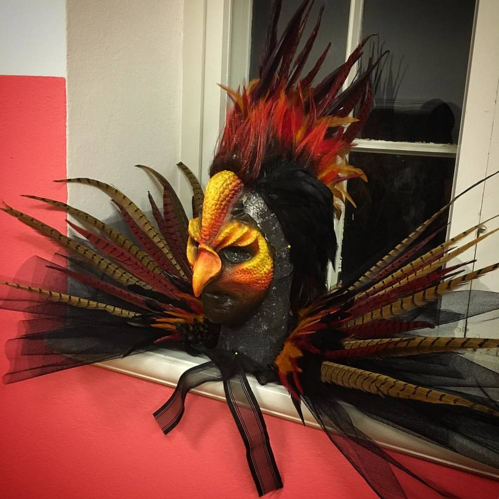 "Petra Shara Stoor also works as a SFX-makeup artist and mask maker (www.sharacreations.com). She has created a fire phoenix inspirated mask and costume that will be part of ""Midvinterglöd"" (midwinterglow) 12th December in Jättendal, Sweden."