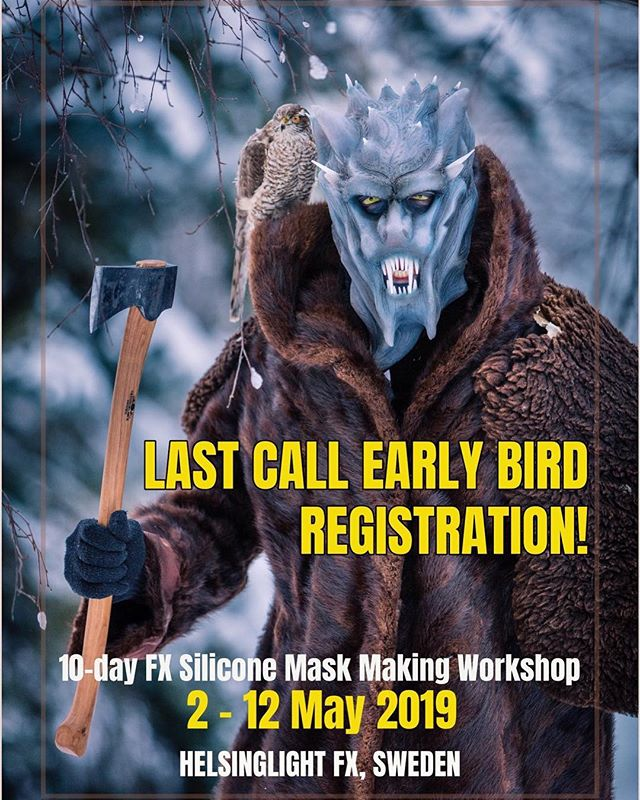 Last call Early Bird Registrations! 🐥🔥 Sign up and secure your spot with a deposit before 31st January -  claim Early Bird offer of €1360 for the 10-day silicone mask making workshop (standard price €1695). All materials included! 🧚‍♂️ Claim Early Bird: www.helsinglight.com or email petra@helsinglight.com  #earlybird #sfxmakeuptutorial #sfxmakeupartist #fxmakeupacademy #fxworkshop #fxmakeupartist #sfx #fx #siliconemolds #siliconemask #mask #maskmaking #makeup #monster #monstermakeup #makeup #monstercreature #fxschool #sweden #fxclass #siliconemask