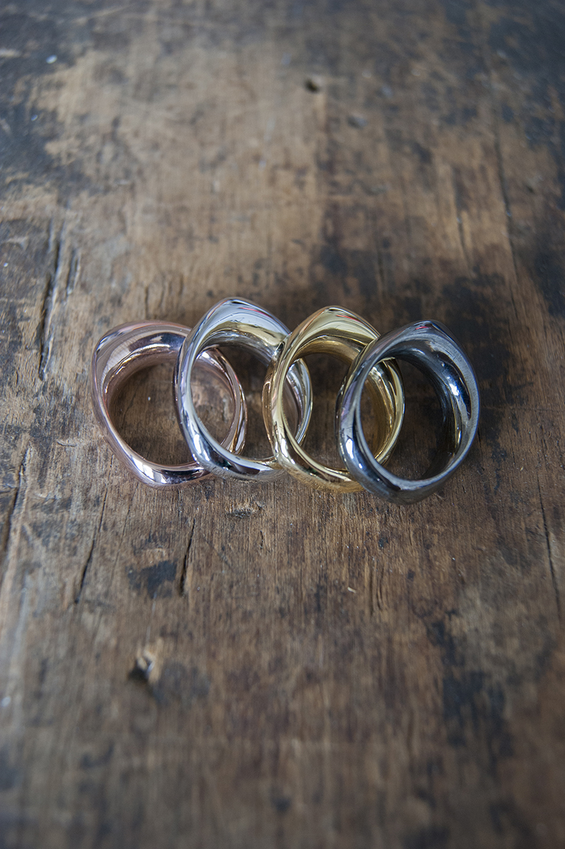 The Flex Ring in rose gold, rhodium, gold, and hematite, available   here .