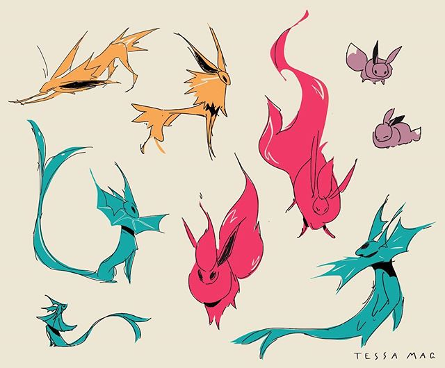 eons and eons  #eeveelutions #eevee #pokemon #letsgoeevee #vaporeon #jolteon #flareon #pokemonart