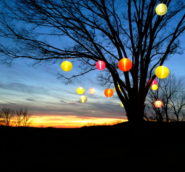 Weather-resistant lanterns in a tree at sunset. Beautiful, practical and colorful.