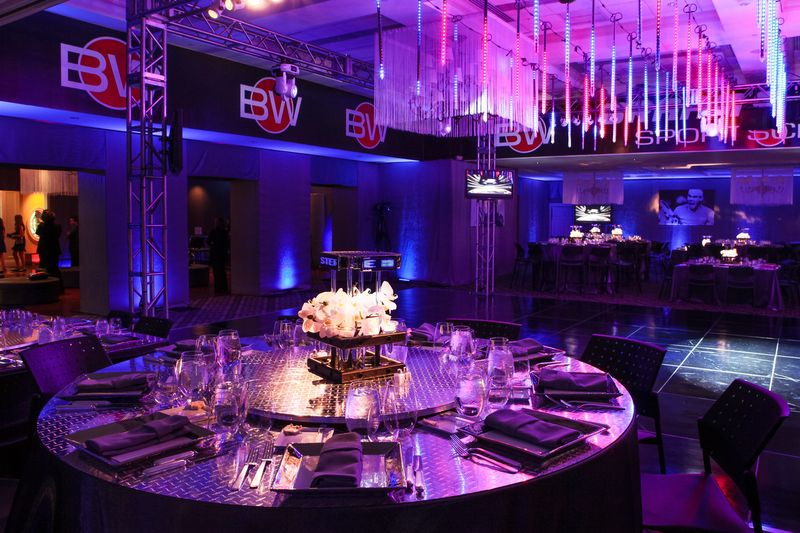 Eggsotic Events Bar Mitzvah Event Design Lighting Centerpieces Custom Tabletops SportsCenter Sports Theme Decor