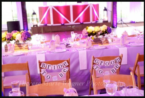 Our Bride-to-Be and Groom-to-Be chair banners, with Jardiniere's hydrangea floral arrangements.