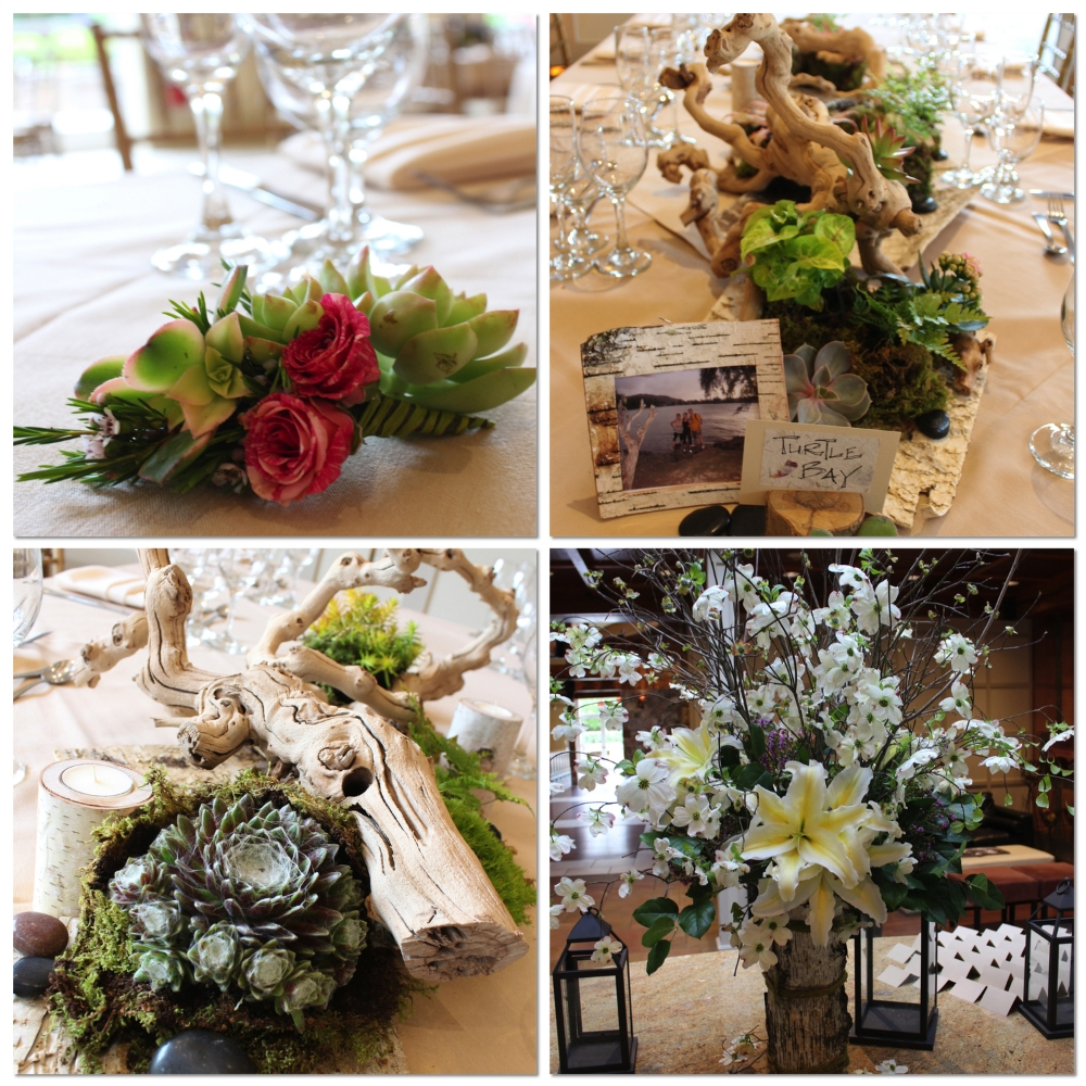 Top Left: a succulent and variegated spray rose boutonniere  Top Right: a centerpiece featuring echeveria, birch wood table name holders, and custom birch picture frames  Bottom Left: hen and chicks succulents, birch wood candle holders, and grapevine branches centerpiece  Bottom Right: escort floral arrangement with giant lilies, fresh dogwood, and a birch bark container