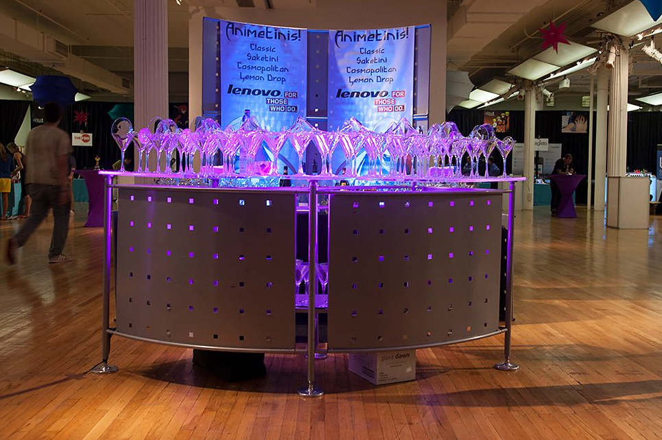 Our tech bar with LED lights and matching backdrop display at the Metropolitan Pavilion in Chelsea • New York, NY