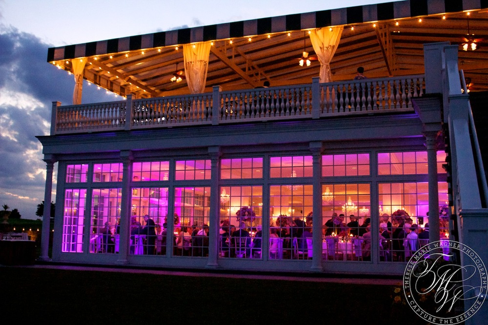 Summer solstice wedding lighting at trump national golf