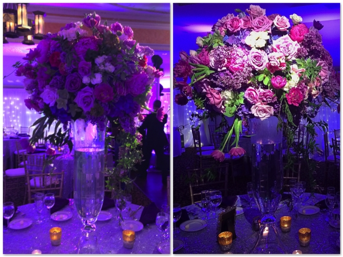 A large floral centerpiece with and without pin spotting. What a difference pin spots make!  Centerpiece by  A Votre Service Events . Lighting by  Eggsotic Events .