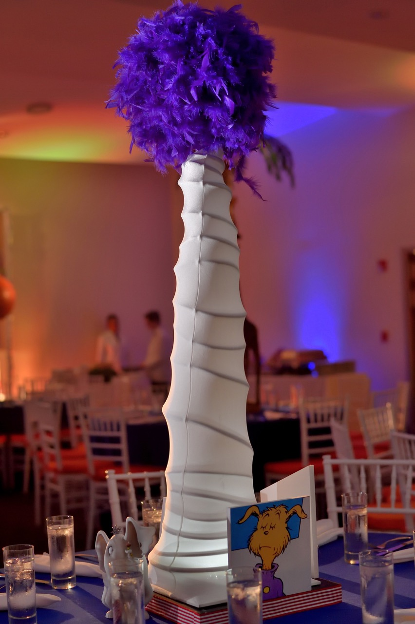 This fun glowing lantern, combined with images and figurines, represented Dr. Seuss, the celebrant's favorite author