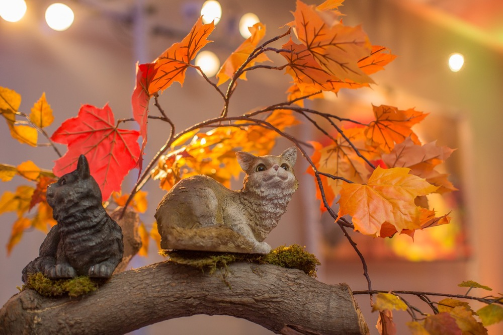Details of our cat centerpiece with autumn leaf accents