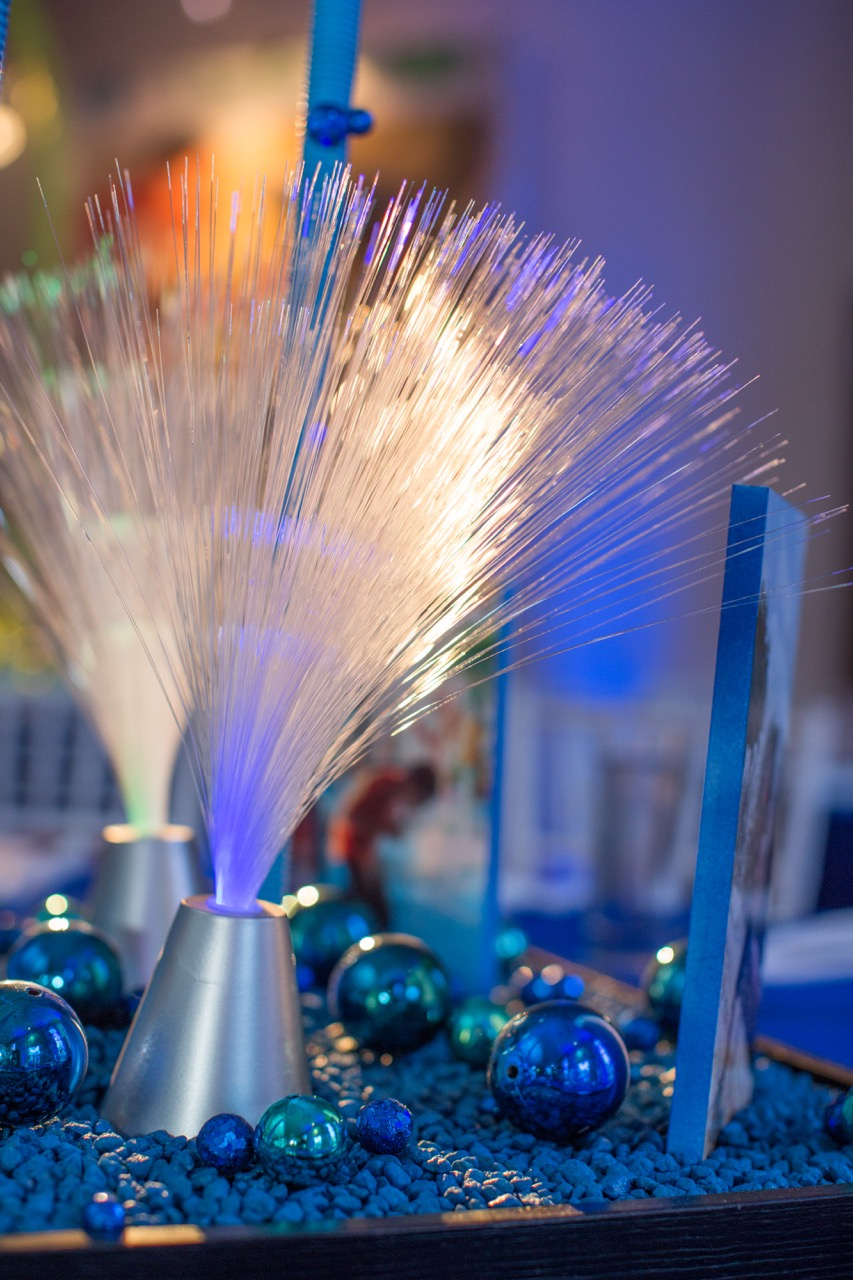 "Fiber optic details and ""water bead"" accents on our fountain centerpiece"
