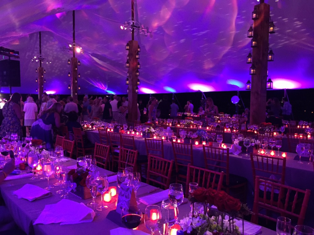 Programmed LED lighting allowed us to change the room color as the sky darkened for an ever-changing lighting effect