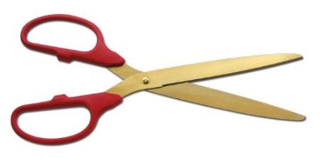 "25"" red and gold ceremonial ribbon-cutting scissors"