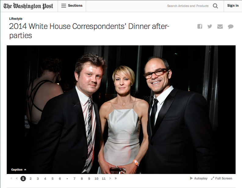 Robin Wright (center) and Michael Kelly (left) of House of Cards at the Buzzfeed WHCD party (Kate Warren for The Washington Post).
