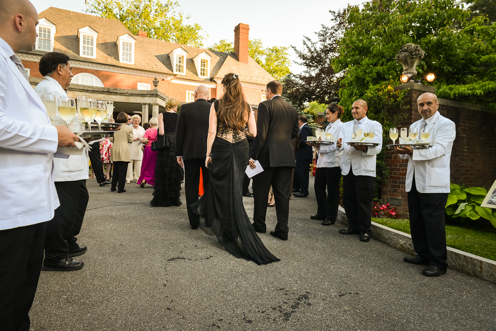 Guests were offered sparkling white wine and champagne upon their arrival at the June 3 Hillwood gala (Photo by Kate Warren for The Washington Post).