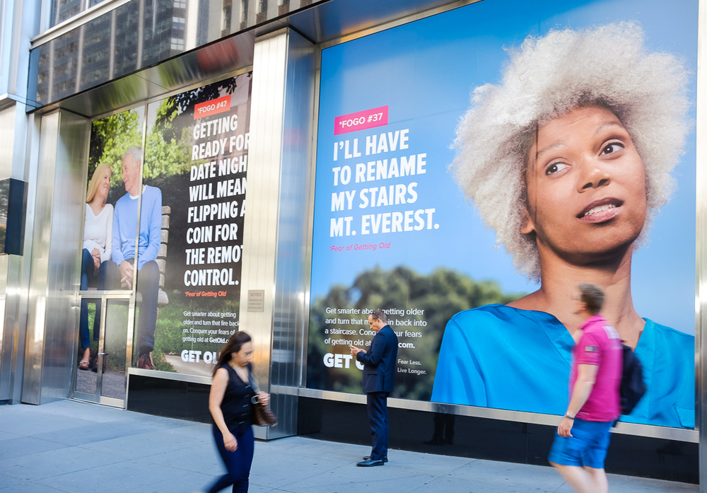 Image from the Pfizer Get Old campaign at Pfizer Worldwide headquarters in midtown Manhattan, a block from Grand Central Station.