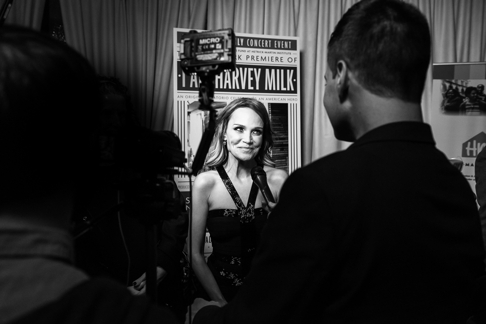 Broadway legend Kristin Chenoweth takes questions on the red carpet at the VIP after party for the one-night-only Lincoln Center debut of 'I Am Harvey Milk', in which she sang the soprano lead.