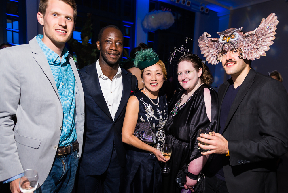 S&R Foundation Co-Founder, President and CEO Dr. Sachiko Kuno (center) with four of the foundations resident fellows at the October 11 Night Nouveau benefit: Dan Gallagher, Olivier Kamanda, Heather Lawver Sewell, and Ben Reich.