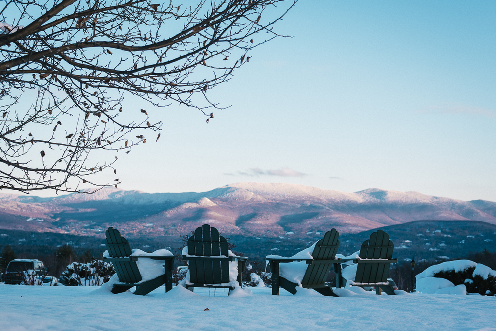 The view from the Trapp Lodge in Stowe, VT during a winter sunset. The von Trapp family of 'Sound of Music' fame immigrated to this mountaintop after fleeing Austria during WWII because the landscape reminded them of home.