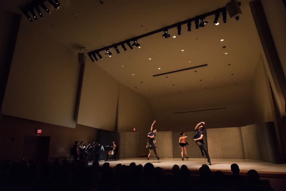 Dancers of the Chamber Dance Project perform a preview of their 2015 works during the organization's benefit on February 28.
