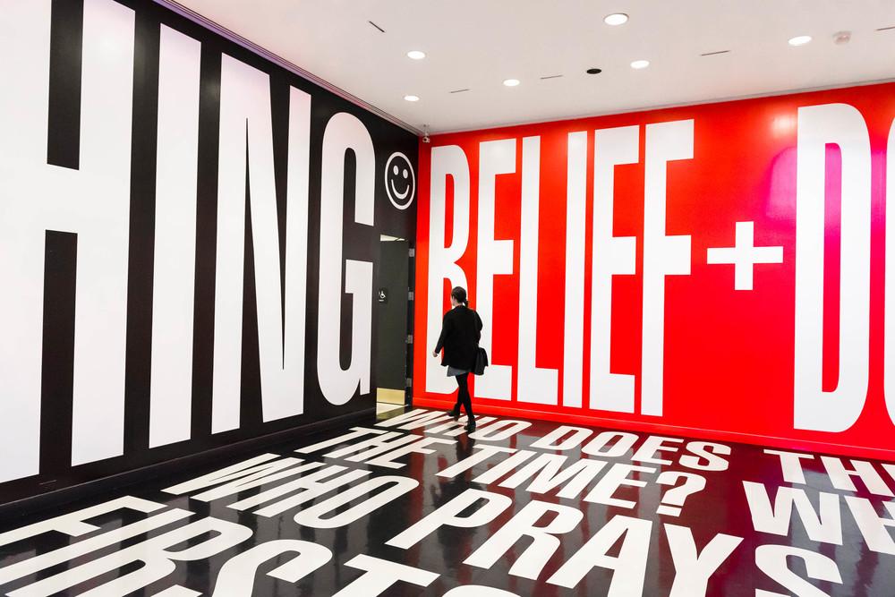 "Kruger's installation ""Belief + Doubt"" at the Hirshhorn."