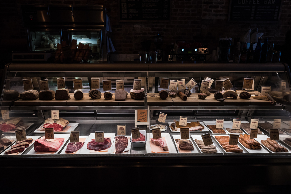 The meat case at Red Apron butcher shop in downtown Washington, DC tantalizes guests of the shop and the adjacent Partisan restaurant with fresh meats.