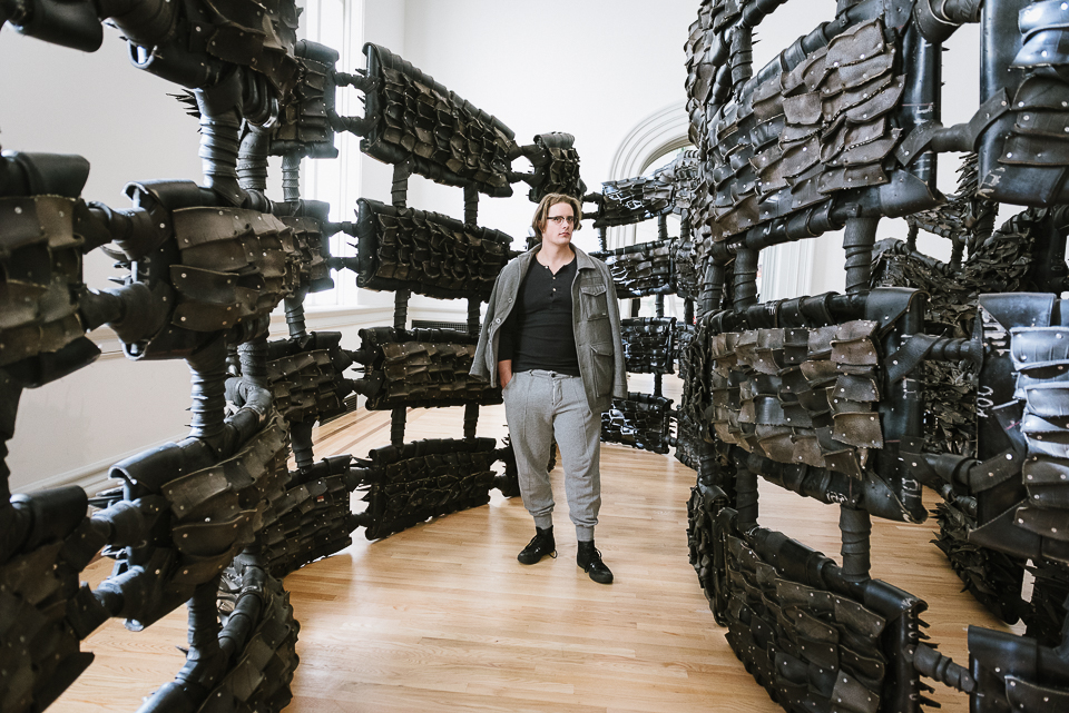 Chakaia Booker created a labyrinth out of reclaimed tires.