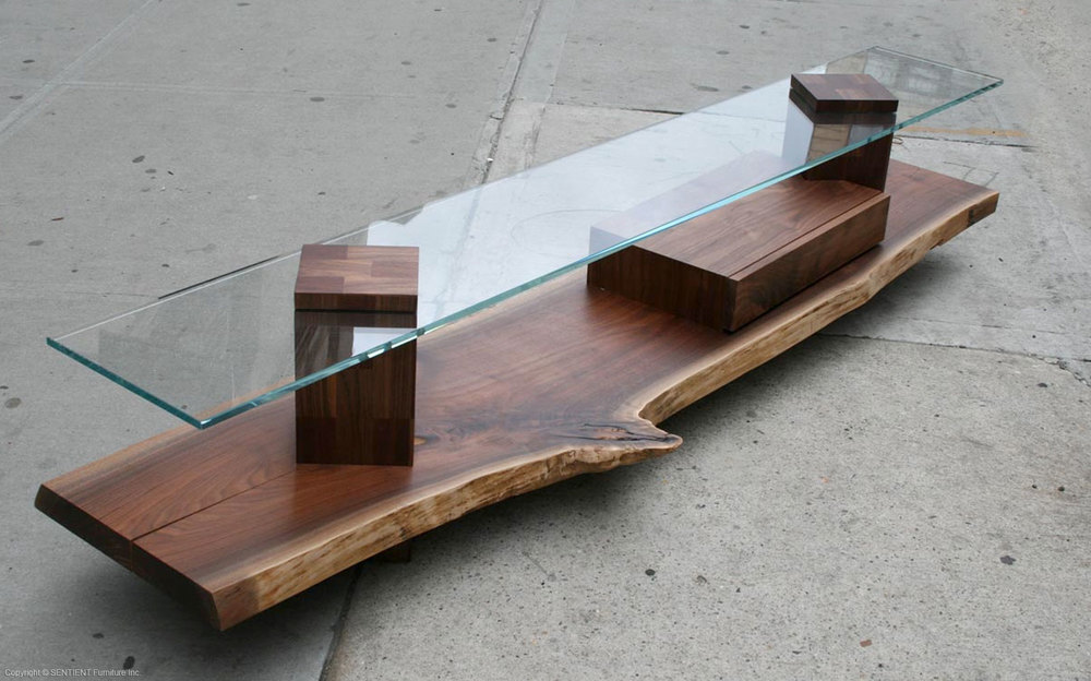 FOOTHILLS WALNUT AND GLASS CONSOLE