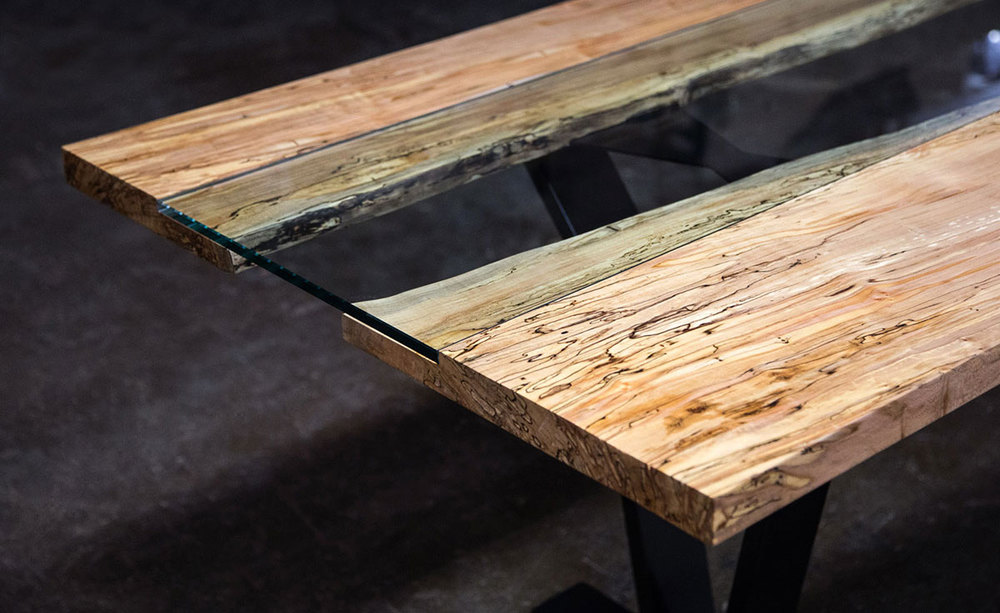 Colorado Live Edge Maple And Glass Dining Table SENTIENT Made In - Maple and glass coffee table