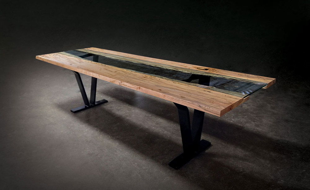 Colorado Live Edge Maple And Glass Dining Table SENTIENT Made In Brooklyn