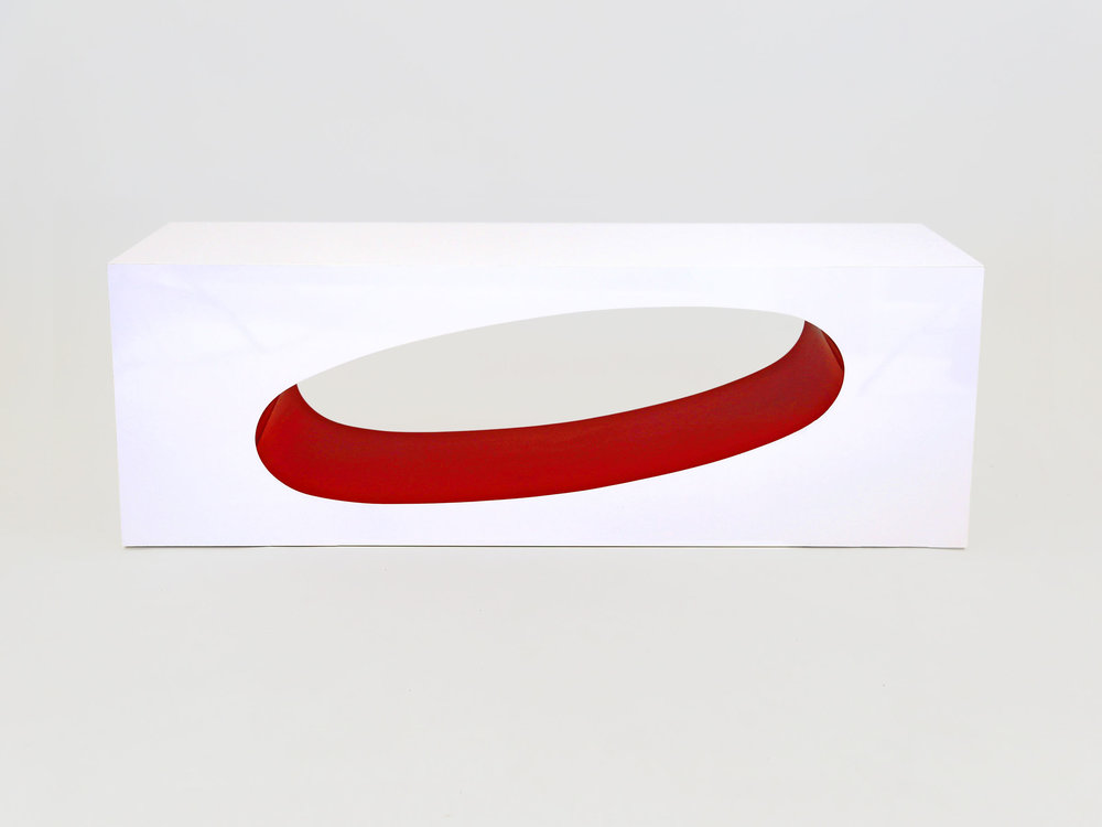 White + Red Gloss Laminate Orbit Console