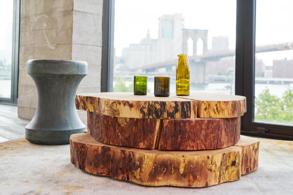 Maple Slab Cocktail Tables for 1 Hotel Brooklyn Bridge by Sentient Furniture